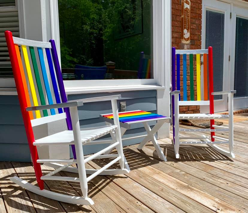 rainbow rocking chairs
